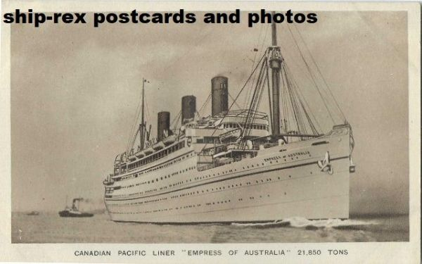 EMPRESS OF AUSTRALIA (1922b, Canadian Pacific) postcard (a)
